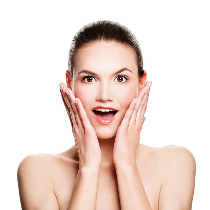 Surprised Woman Isolated On White Fun Spa Model With Open Mouth Stock Photo  - Download Image Now - iStock