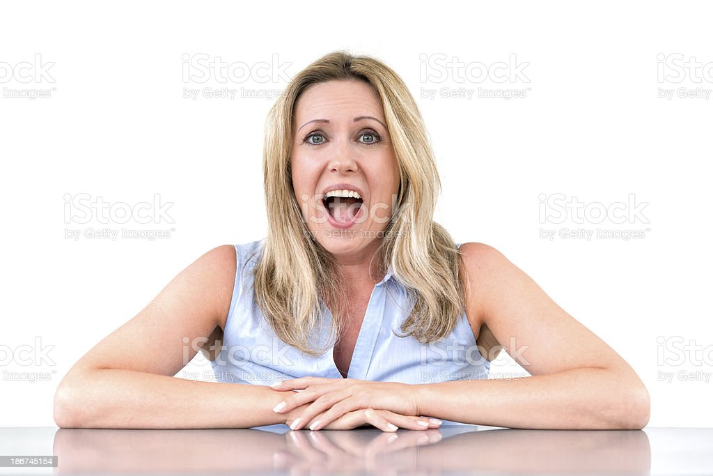 surprised woman looking at camera royalty-free stock photo