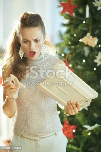 1059144984 istock photo surprised woman near Christmas tree looking at broken dish 1059144904
