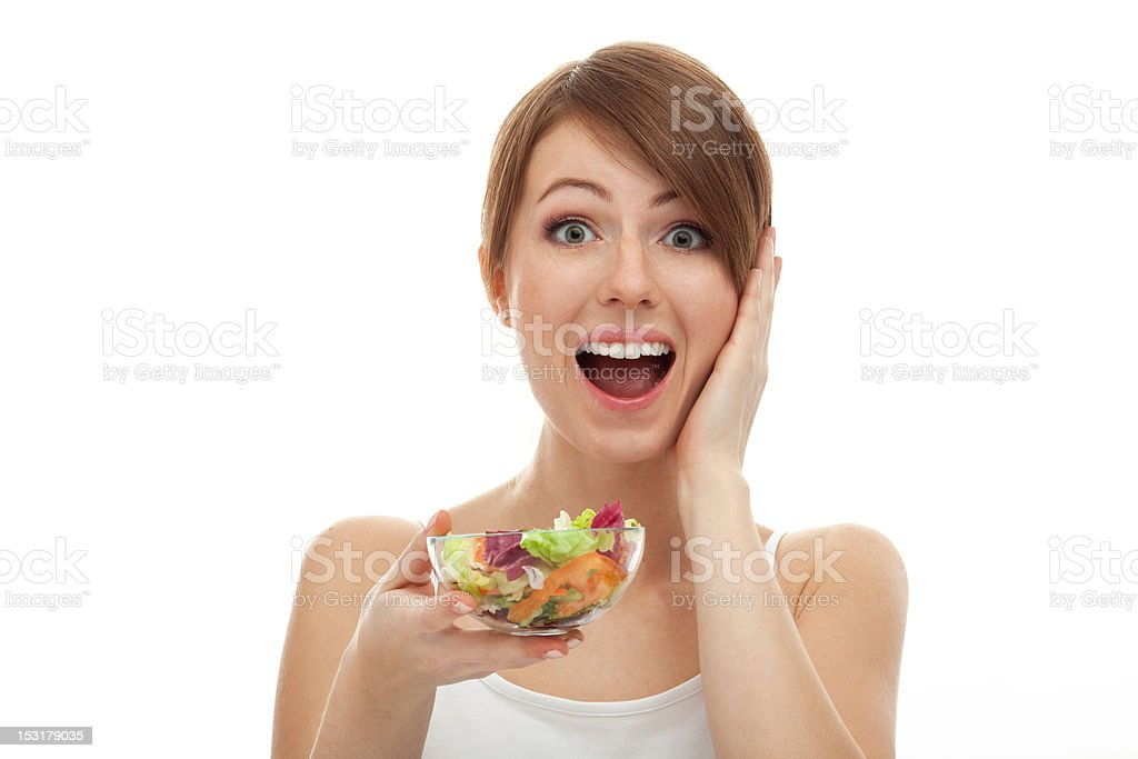 Surprised woman on diet royalty-free stock photo