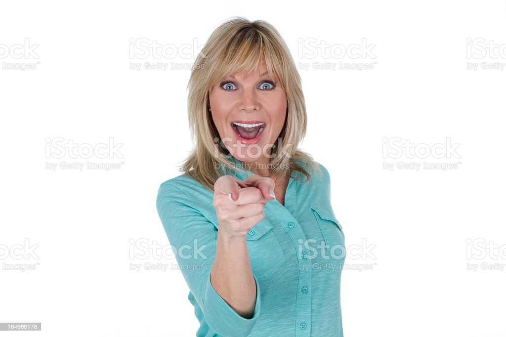 surprised woman pointing royalty-free stock photo