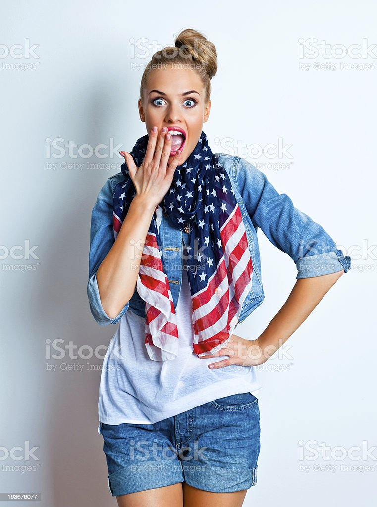 Surprised woman, Studio Portrait royalty-free stock photo