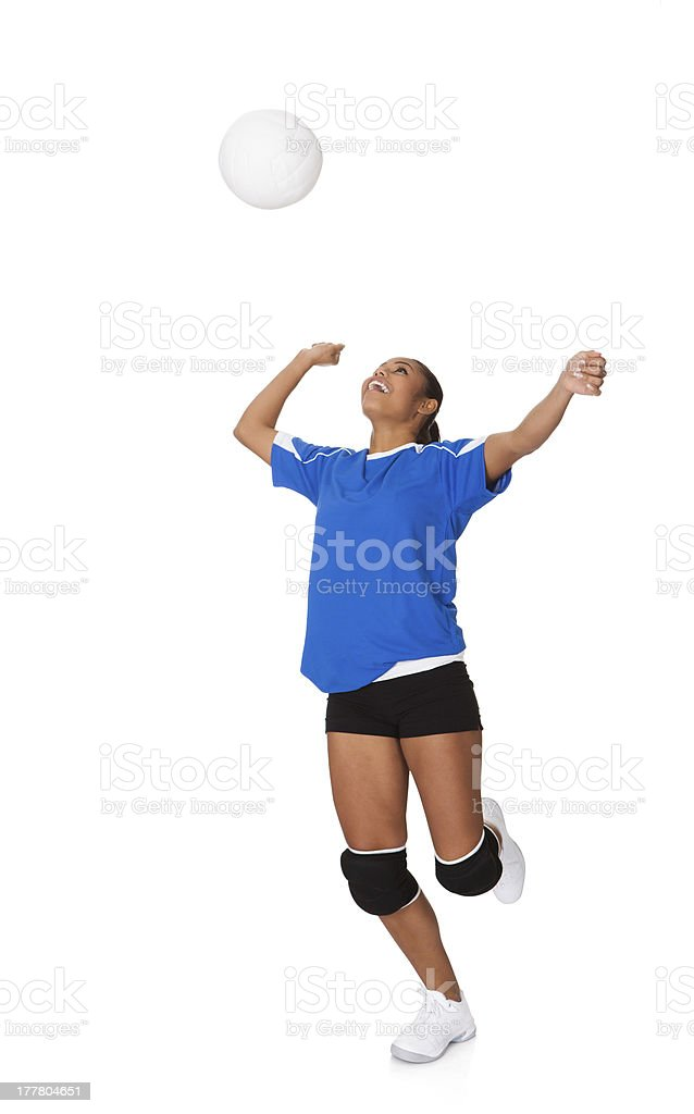 Surprised Young Girl Playing The Volleyball royalty-free stock photo
