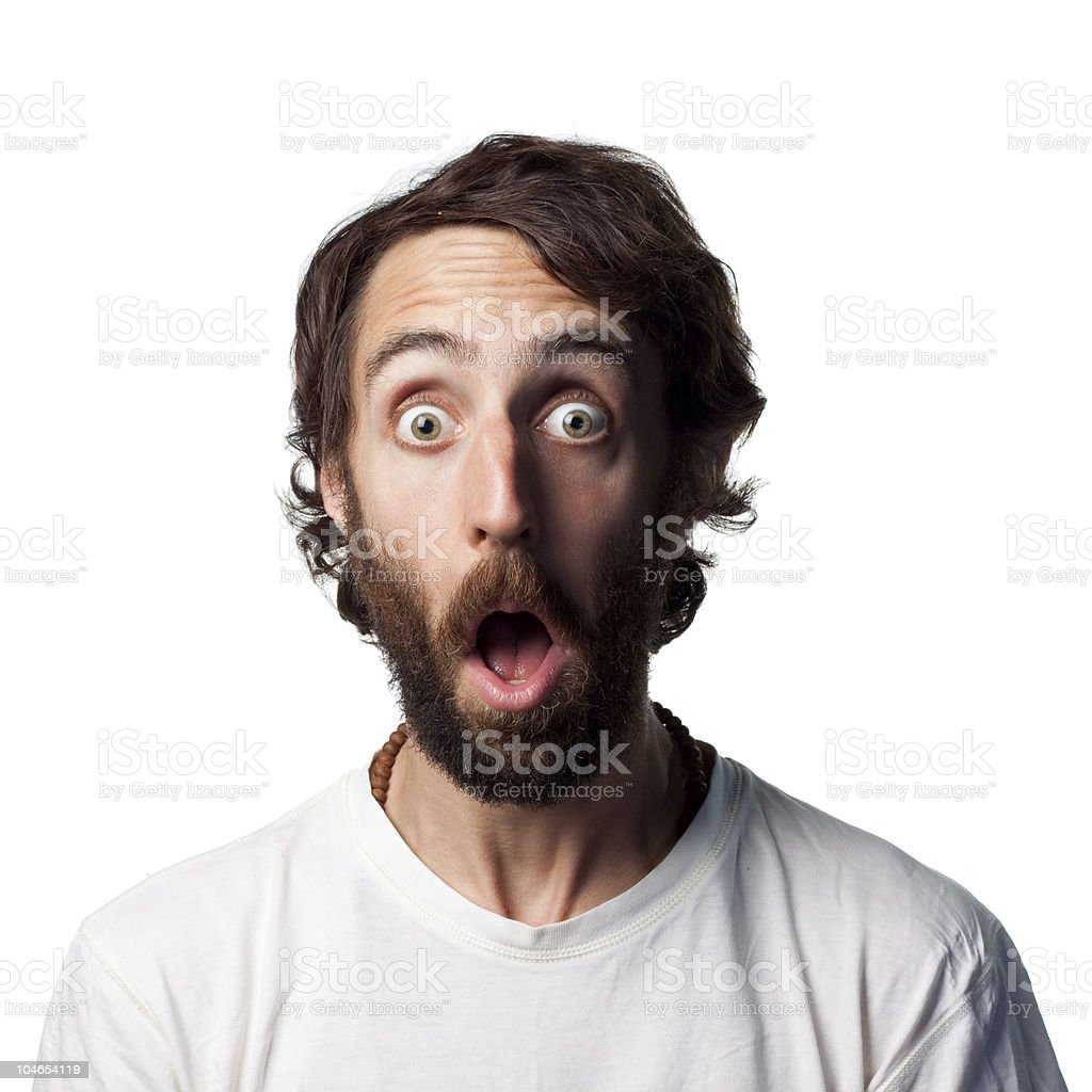 Surprised young man stock photo