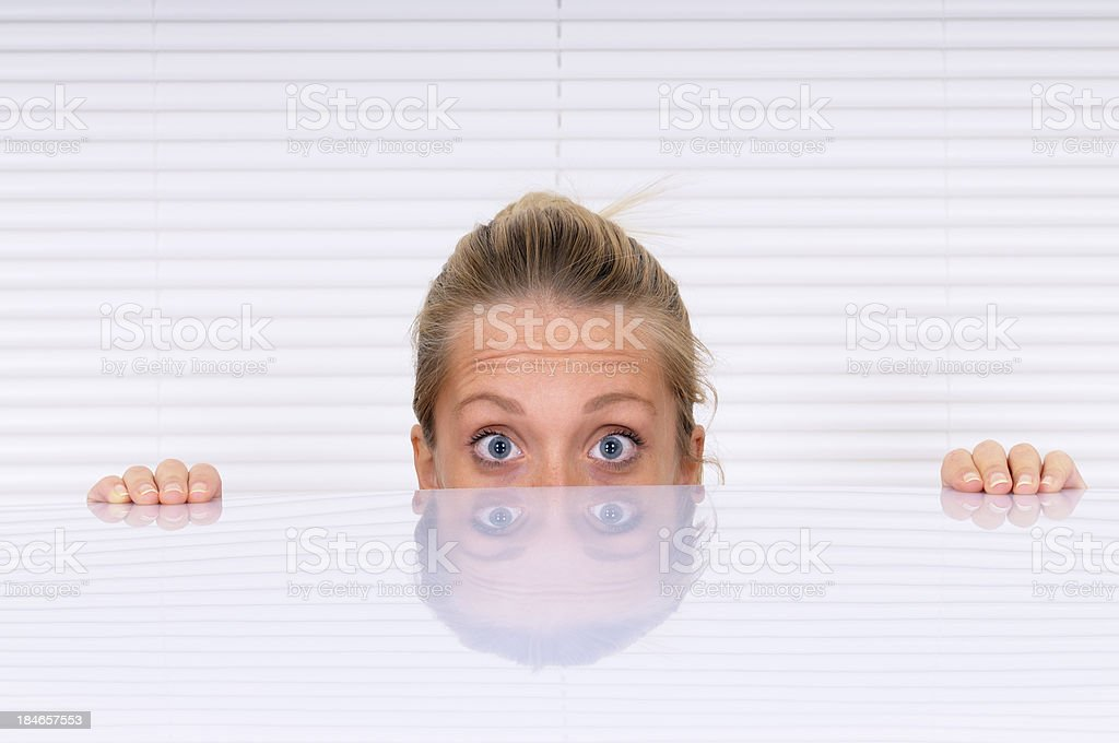 Surprised Young Woman Looking At Camera.Copy Space stock photo