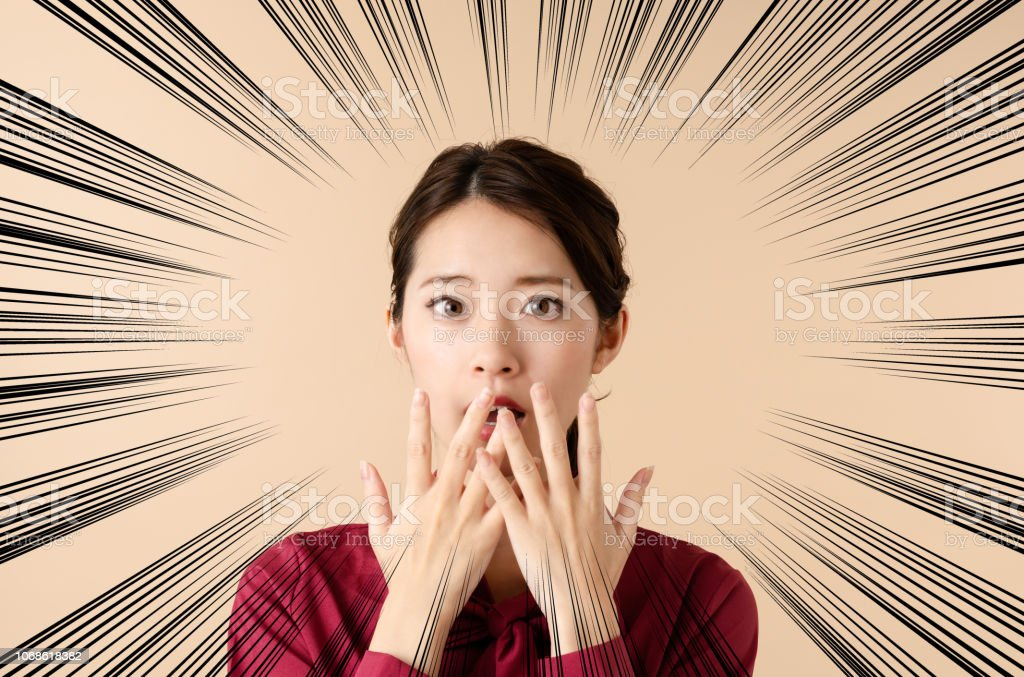 Surprised young woman. stock photo