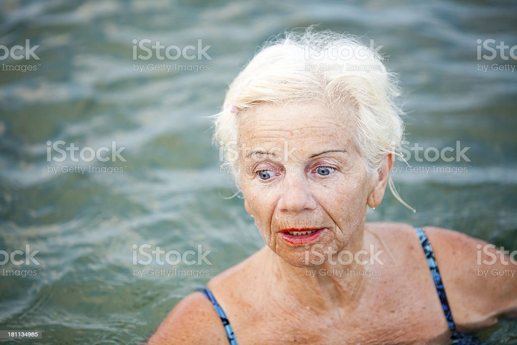 Surprized Senior In Water royalty-free stock photo