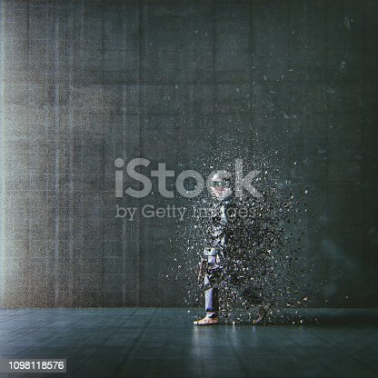 Surreal abstract businessman disintegration. This is entirely 3D generated image.