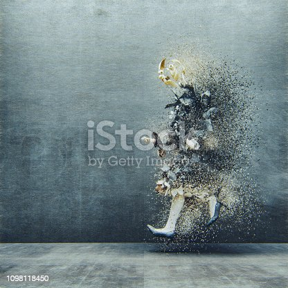 Surreal abstract businesswoman disintegration. This is entirely 3D generated image.