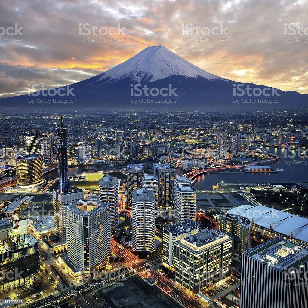 Surreal aerial view of Yokohama and Mount Fuji stock photo