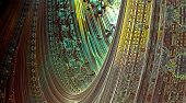 Surreal arch-shaped gate in 3d fractal world. 3d fractal graphic, part of a huge fractal, calculated with Mandelbulb 3D program, JPEG Grafik