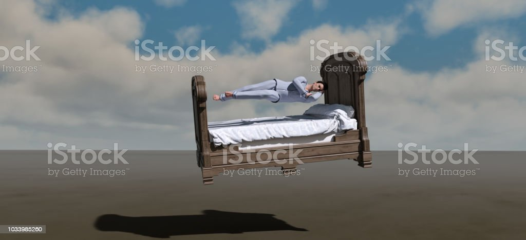 Retro style of surrealism and symbolism related to dreams and sleeping