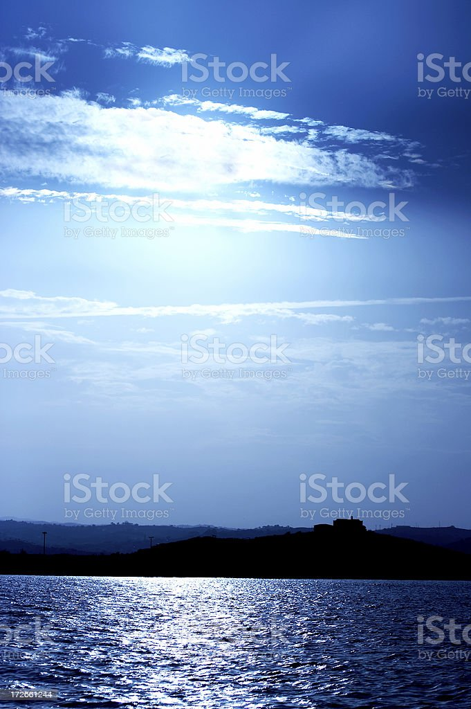 Surreal Blue Waterscape royalty-free stock photo