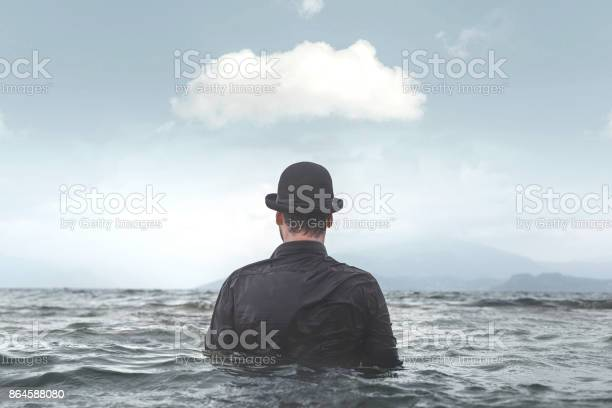 Photo of surreal business mind status concept