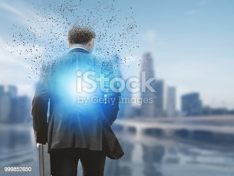 861862204 istock photo Surreal businessman in modern city. 999852650
