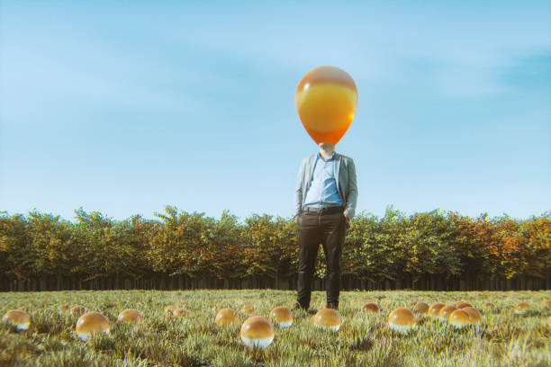 Surreal businessman standing in the meadow Surreal businessman standing in the meadow. head in the sand stock pictures, royalty-free photos & images
