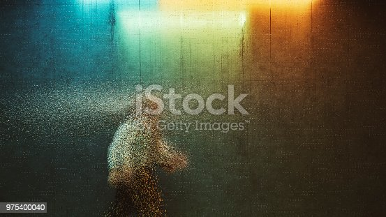 Surreal businessman walking in dark alley.