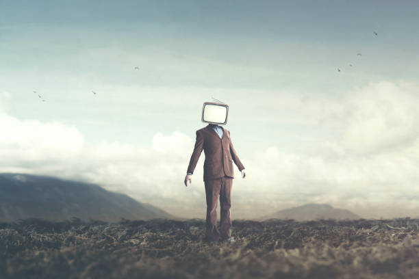 surreal concept man with television over his head stock photo