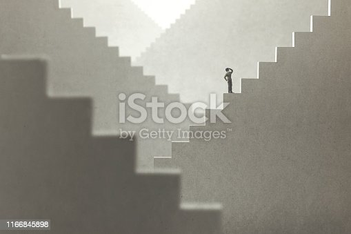 surreal concept of a man rising stairs to try to reach the top
