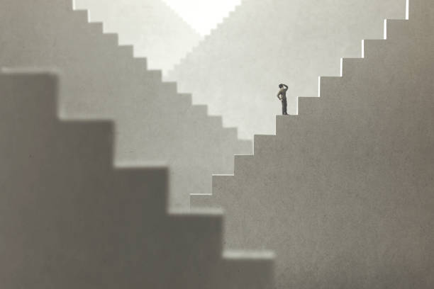 surreal concept of a man rising stairs to try to reach the top surreal concept of a man rising stairs to try to reach the top eternity stock pictures, royalty-free photos & images