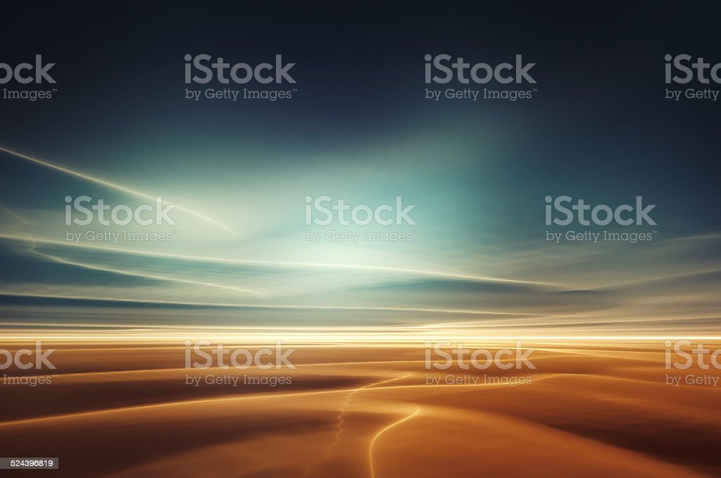 Surreal desert landscape stock photo
