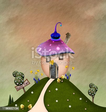 Easter celebration series: egg-shaped house on the top of the hill – 3D render