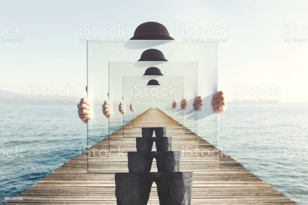 surreal enigmatic picture on canvas stock photo
