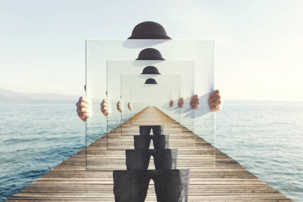 surreal enigmatic picture on canvas - magician stock photos and pictures