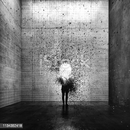 Surreal exploding young woman. This is entirely 3D generated image.