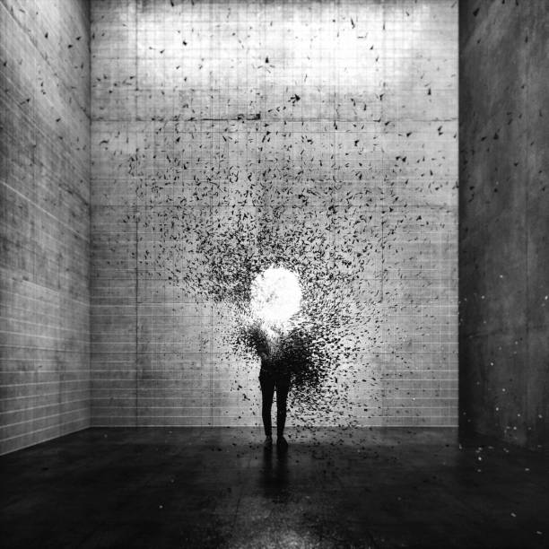 surreal exploding young woman - disintegrate stock pictures, royalty-free photos & images
