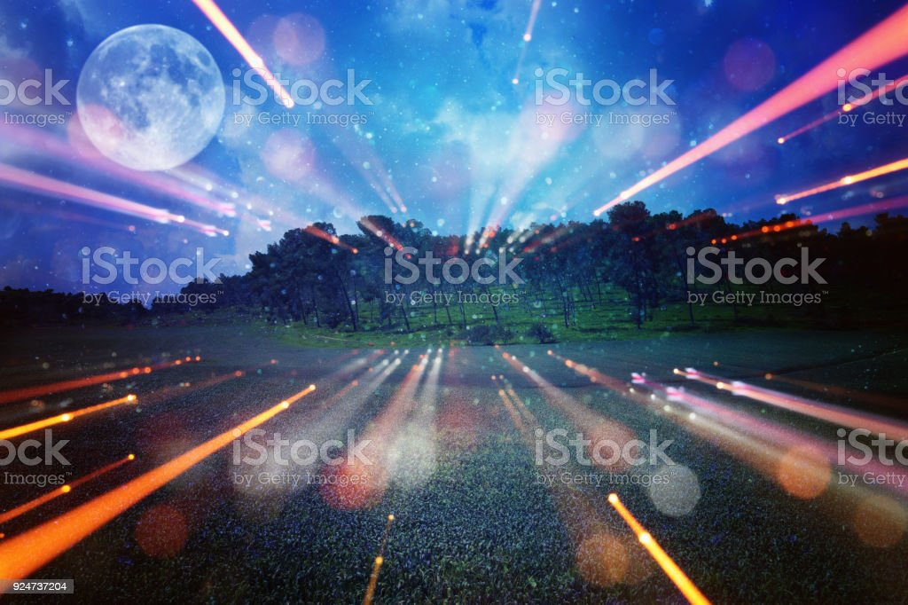 Surreal Fantasy Concept Full Moon With Stars Glitter In