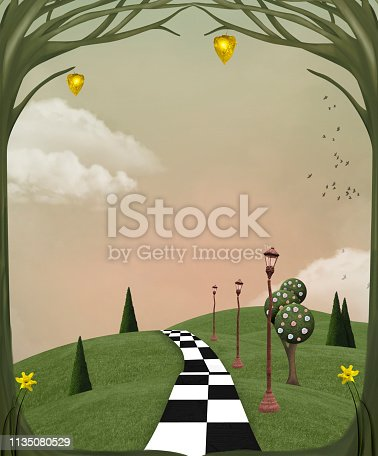 Surreal country landscape with chessboard pathway across a grassy hill – 3D illustration