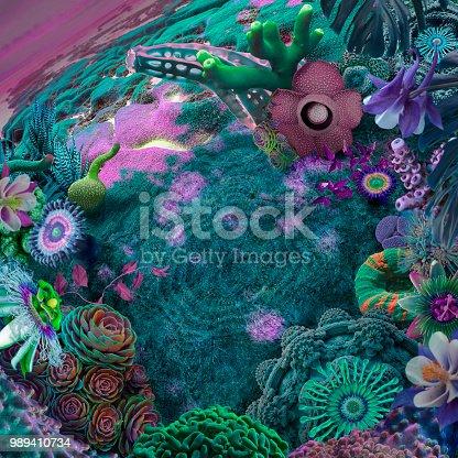 surreal garden background