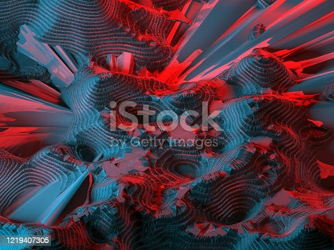 512407584 istock photo Surreal geography of an alien planet with dark landscape 1219407305