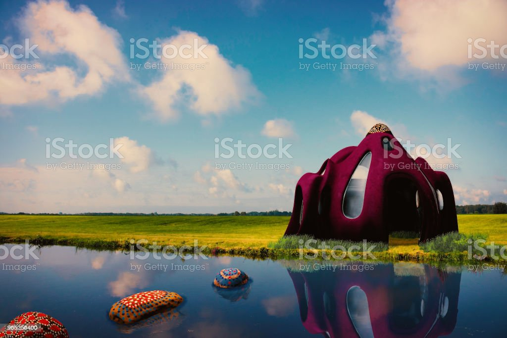 A Surreal House by the lake royalty-free stock photo