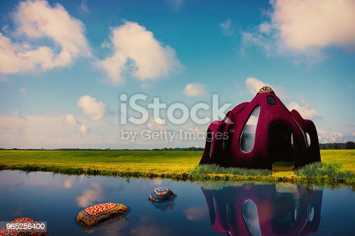 A Surreal House By The Lake Stock Photo & More Pictures of Bright