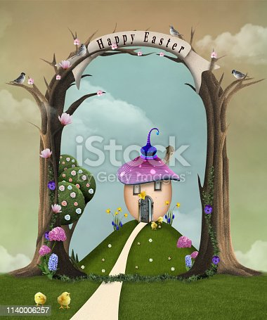 Easter celebration series: countryside landscape with a surreal egg-shaped house – 3D illustration