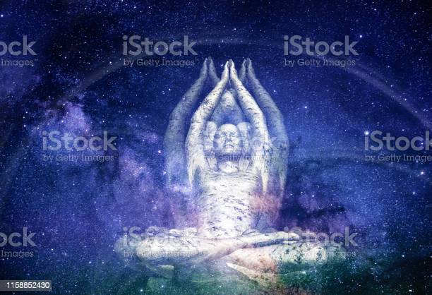 Photo of Surreal Illustration of a Male Figure sitting in Meditation