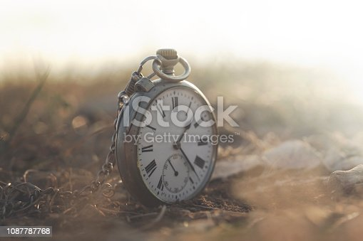 surreal image of a clock in a mystical and mysterious landscape