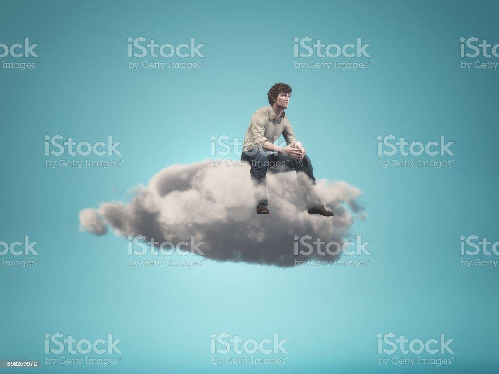 Image surréaliste d'un homme assis sur un nuage gris - Photo