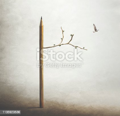 istock surreal image of a tree with a pencil trunk and a bird flying free in the sky 1135920536