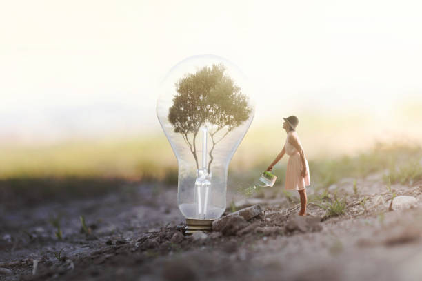 surreal image of a woman watering her plant that needs energy to a light bulb - foto stock