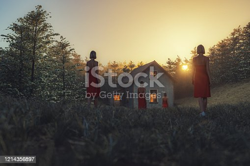 Surreal image of female clones walking towards rural house. This is entirely 3D generated image.
