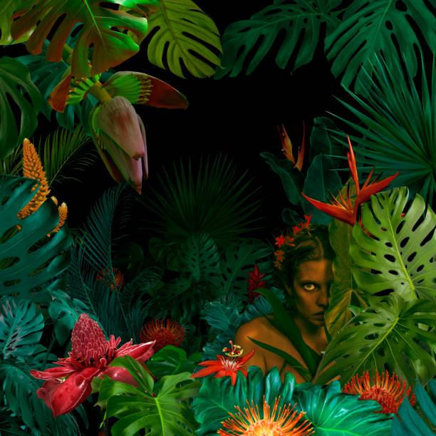 Surreal jungle portrait stock photo
