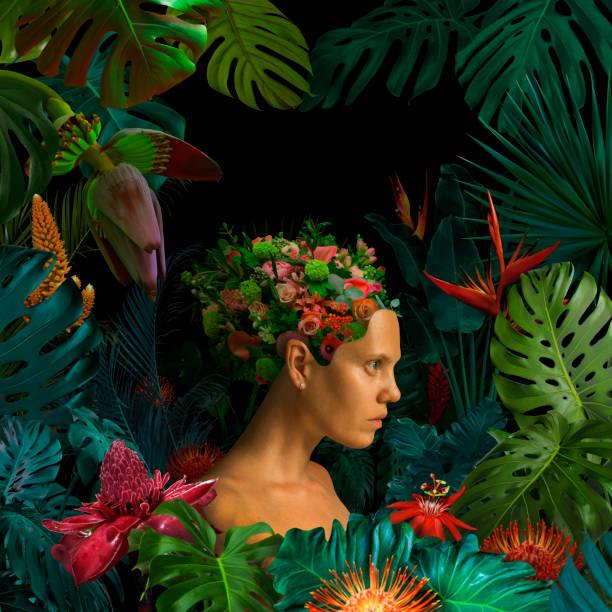 surreal jungle portrait - woman portrait forest foto e immagini stock