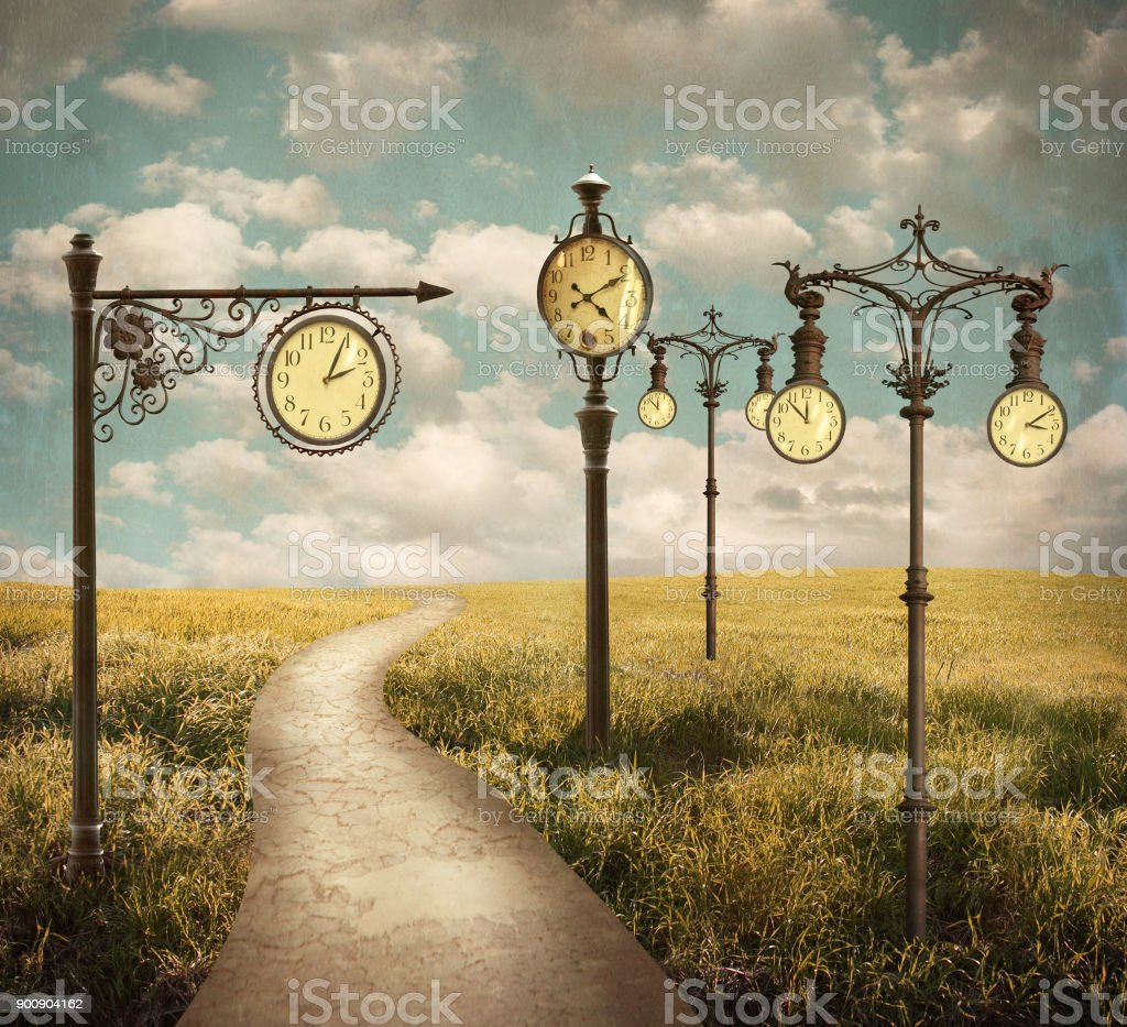 Surreal Landscape Of Clocks stock photo