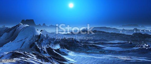 istock 3D surreal landscape 501334140