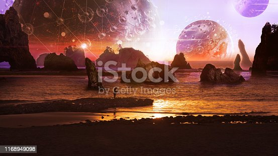 Distant planet. Man fishing in orange sea. Psychedelic abstract. Nasa Public Domain Imagery
