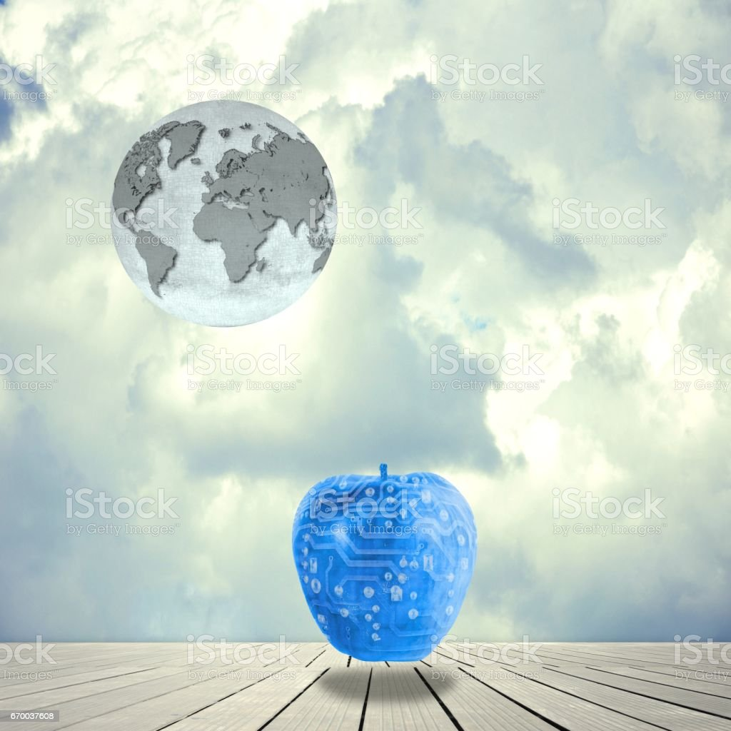 Surreal landscape with earth globe and electronic blue apple. Elements of this image furnished by NASA. stock photo