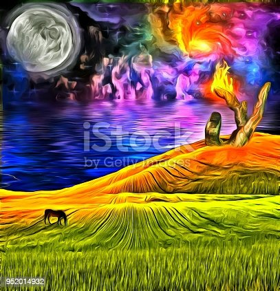 istock Surreal Landscape with flaming sculpture 952014932